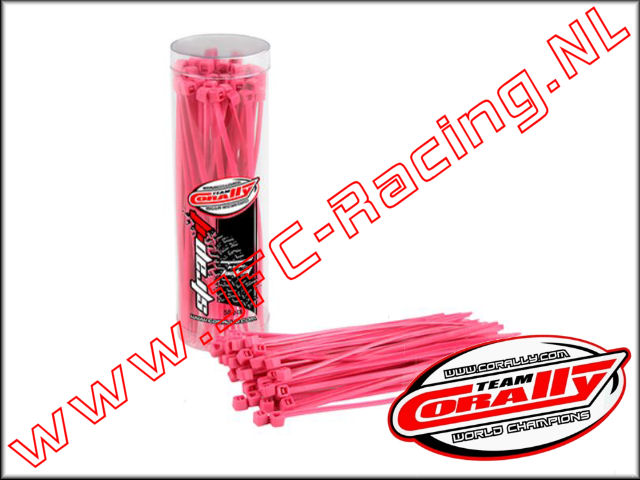 C-50504, Ty Raps (2,5 x 100mm)(<FONT COLOR=ff40ff>Pink</FONT>)(Nylon)(Team Corally) 50st.