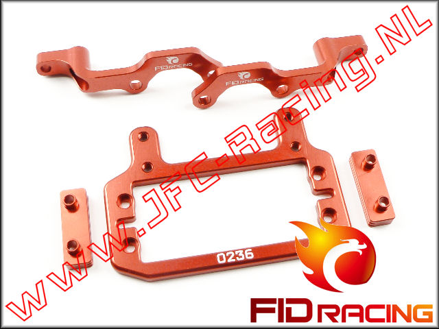 FID 002SRED, FID Racing Remservo / Differentieelbok Verbindings Set (LOSI 5ive / Mini WRC)(Aluminium)(<FONT COLOR=ff0000>Red</FONT>) 1st.