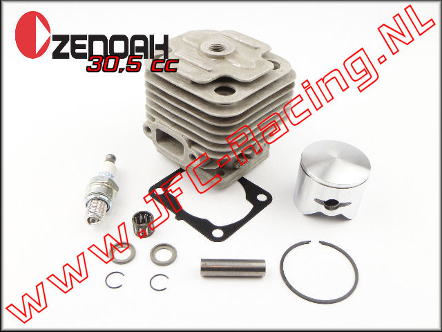 JFC 1421, Race Ported Cilinder Set Voor +2mm Stroker Kruk-as (30,52cc)(36mm)(Zenoah G290RC)(4 bouts)(ESP Modified) 1st.