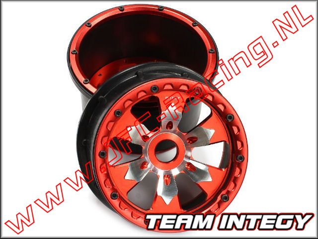BAJ368RED, Aluminium Wheel (Rear)(Beadlock)(Polymer Barrel)(HPI Baja 5B, 5T, 5SC)(<FONT COLOR=ff0000>Red</FONT>) 2st.