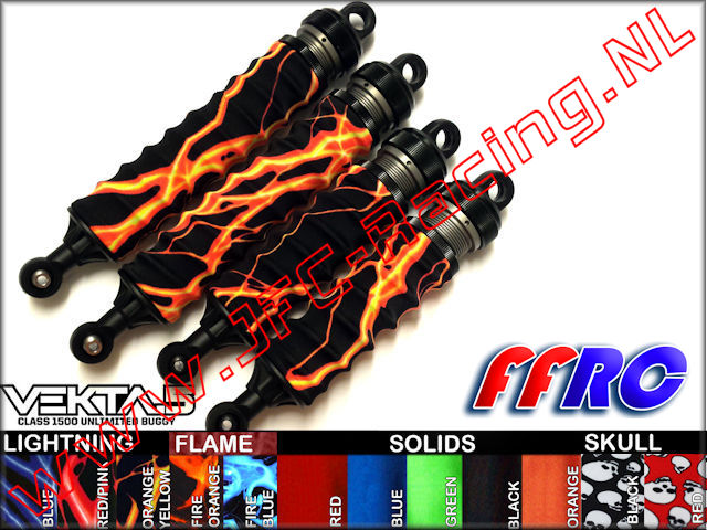 VKT018BLK, FullForce RC Kraken Vekta Shock Boots (Black) 4pcs.