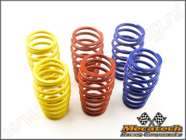 MEC 2009/05, Mecatech Shock Spring (2,6 mm <FONT COLOR=0000ff>Blue</FONT>)(2,7 mm <FONT COLOR=ff0000>Red</FONT>)(2,8 mm <FONT COLOR=ffff00>Yellow</FONT>) 6st.