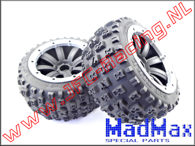 MM 1142-80, Madmax Cross Bond Tire With Black Rim (Rear 170 x 80mm)(MadMax) 2st.